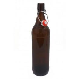 Brun flaska 1L med bygelkapsyl
